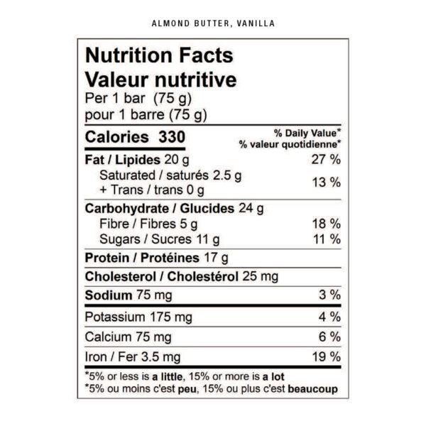 almond butter vanilla nutritional facts