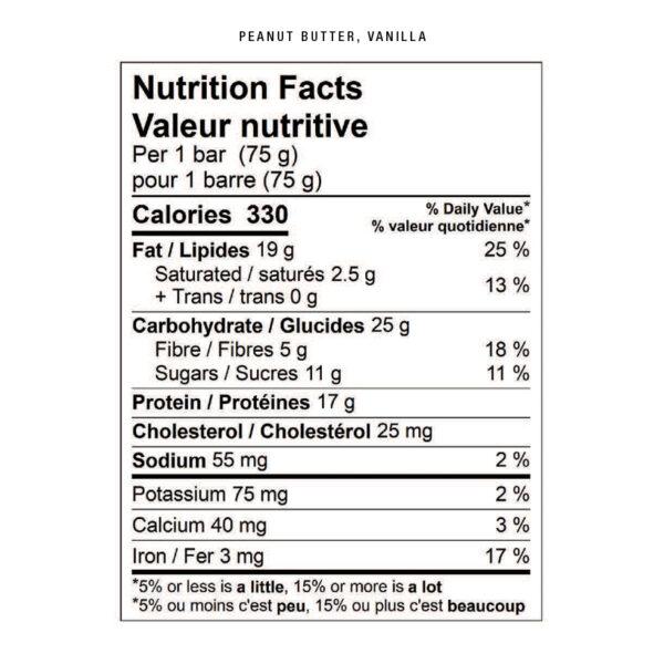 peanut butter vanilla nutritional facts
